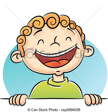 Clipart Vector of Child Laughing.
