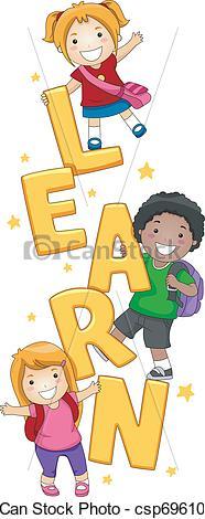 Vector Clip Art of Kids Learning.