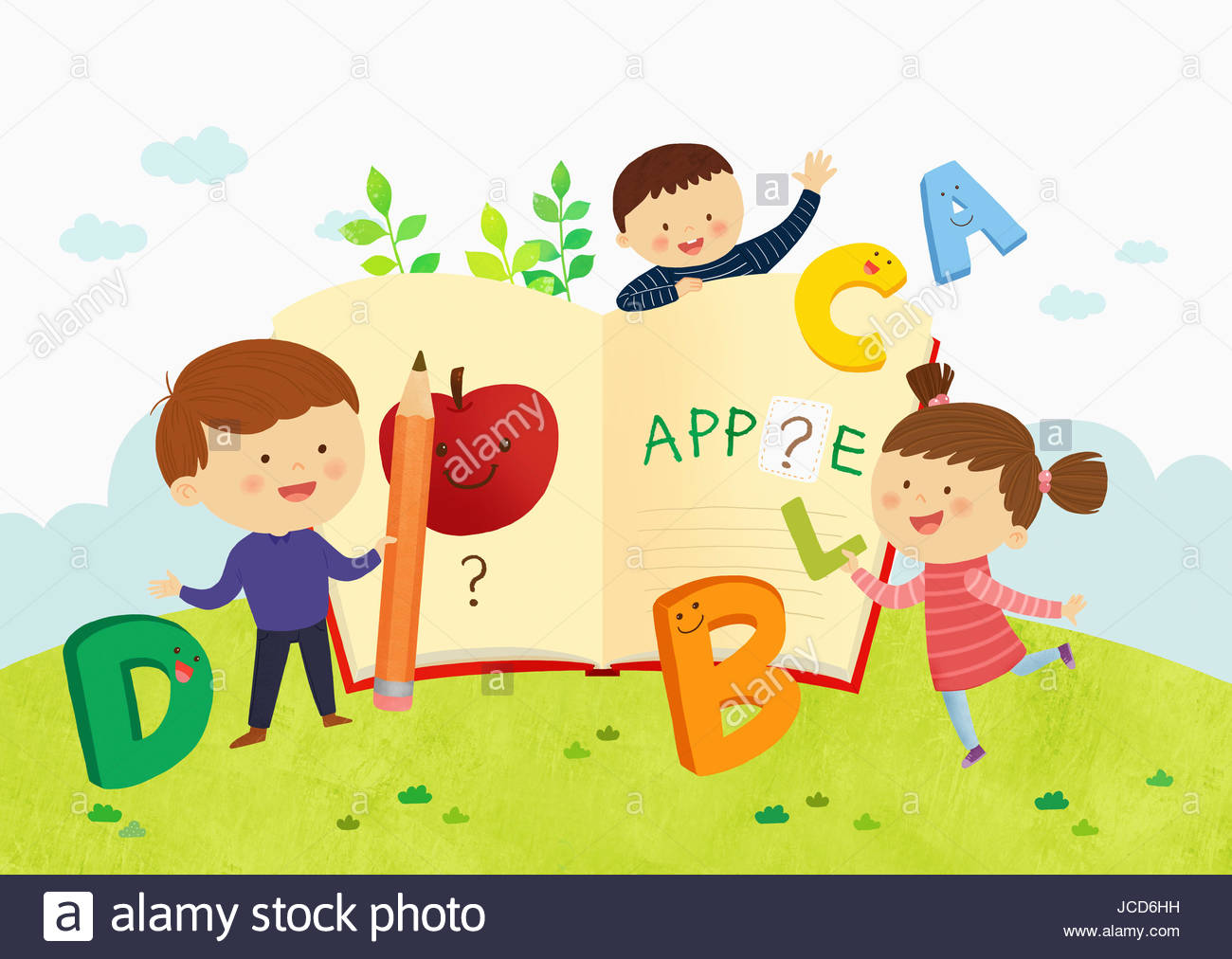 Smiling kids learning English Stock Photo: 145349389.