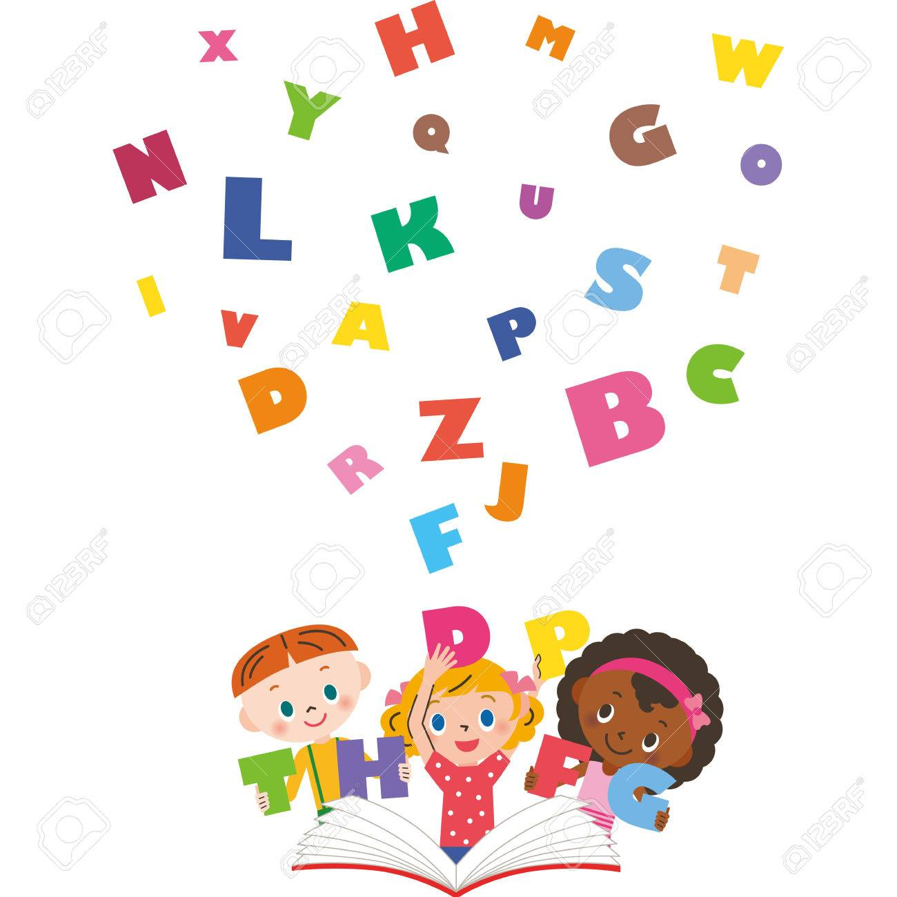 Children learning English.