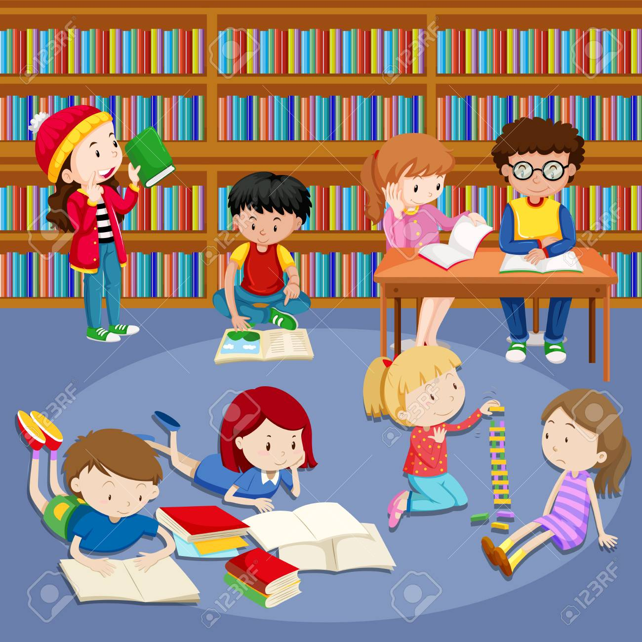 Many kids reading books in library illustration.