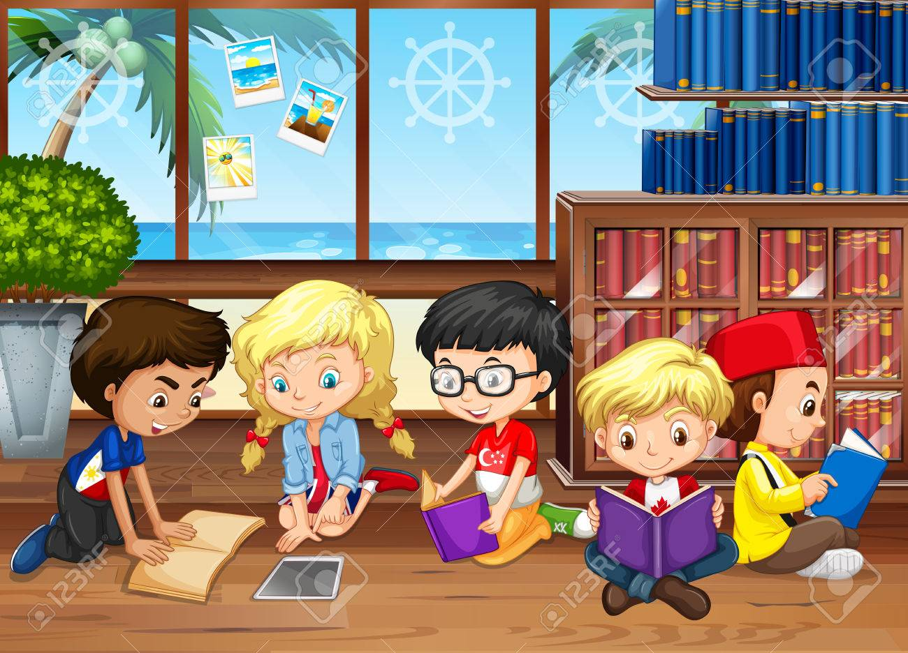 Children reading books in the library illustration.