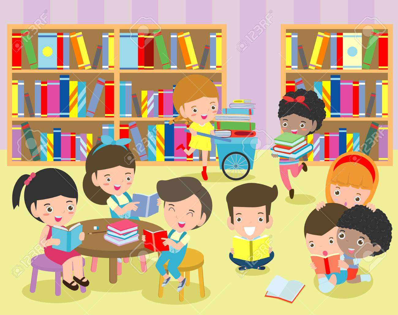 Happy kids reading book in a library ,cute children reading books,...