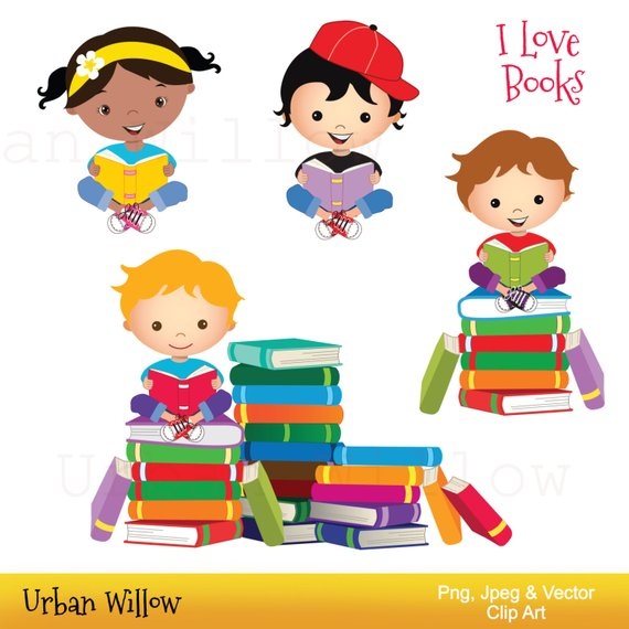 70% OFF SALE Clip art school kids, Clip art Books, Reading Clipart.