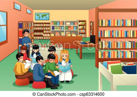 Group of School Kids Studying in Library Illustration.