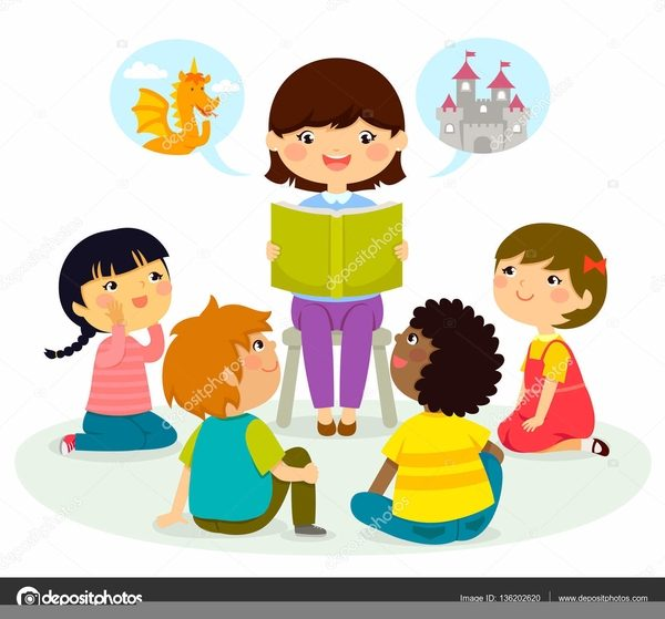 Clipart Children Listening To A Story.