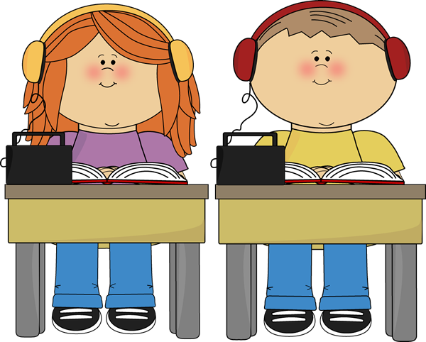 Schook Kids Listening to Books clip art from Cute Graphics.