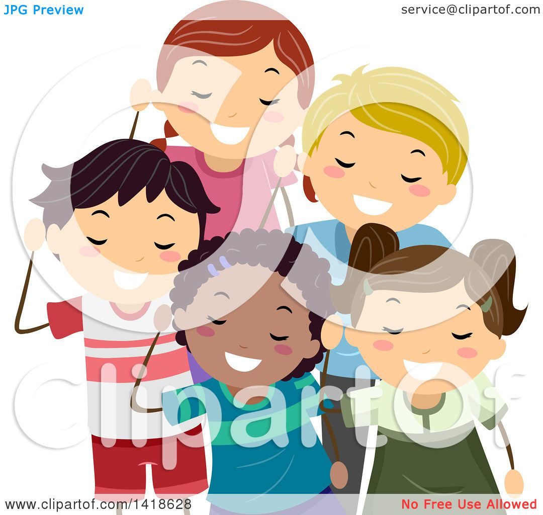 Clipart of a Group of Children Listening.