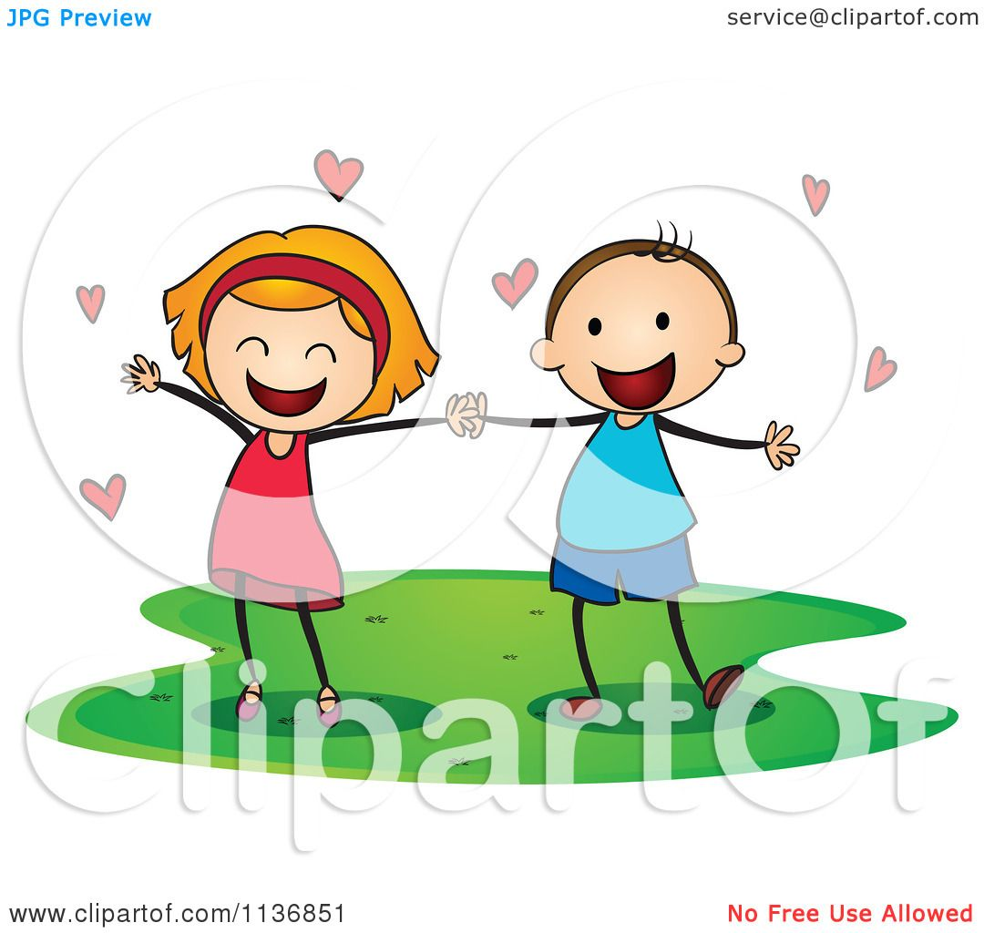Cartoon Of Children Holding Hands With Love Hearts.
