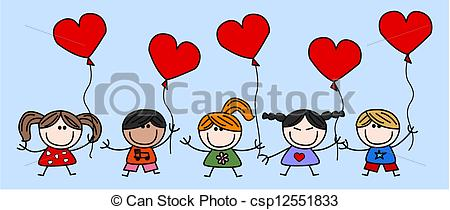 Vector Illustration of mixed ethnic happy kids love csp12666721.
