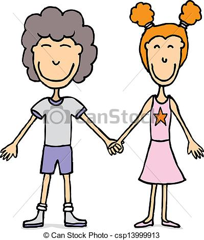 Vector Clip Art of Young couple holding hands / Kids in love.