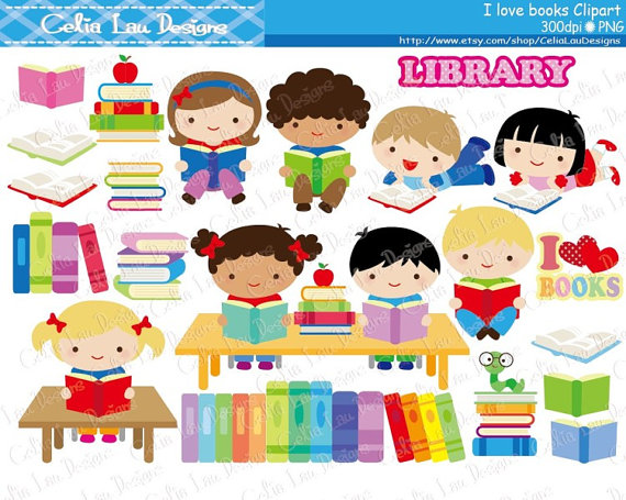Kids Love Reading Clipart / Book lover / Book clip art /.
