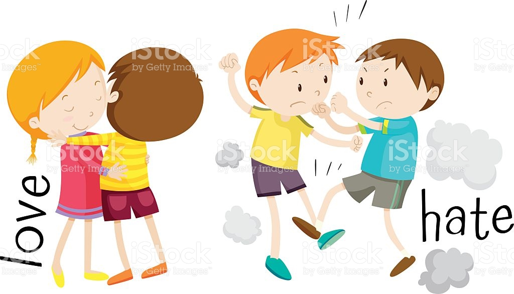 Kids Showing Love And Hate stock vector art 622891704.