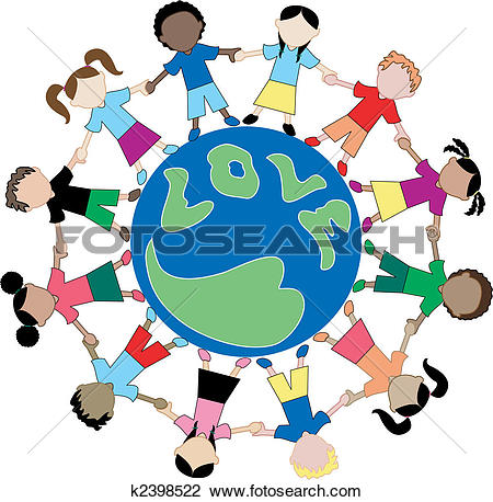 Clipart of Kids Flag Shirts Love Globe k3417041.