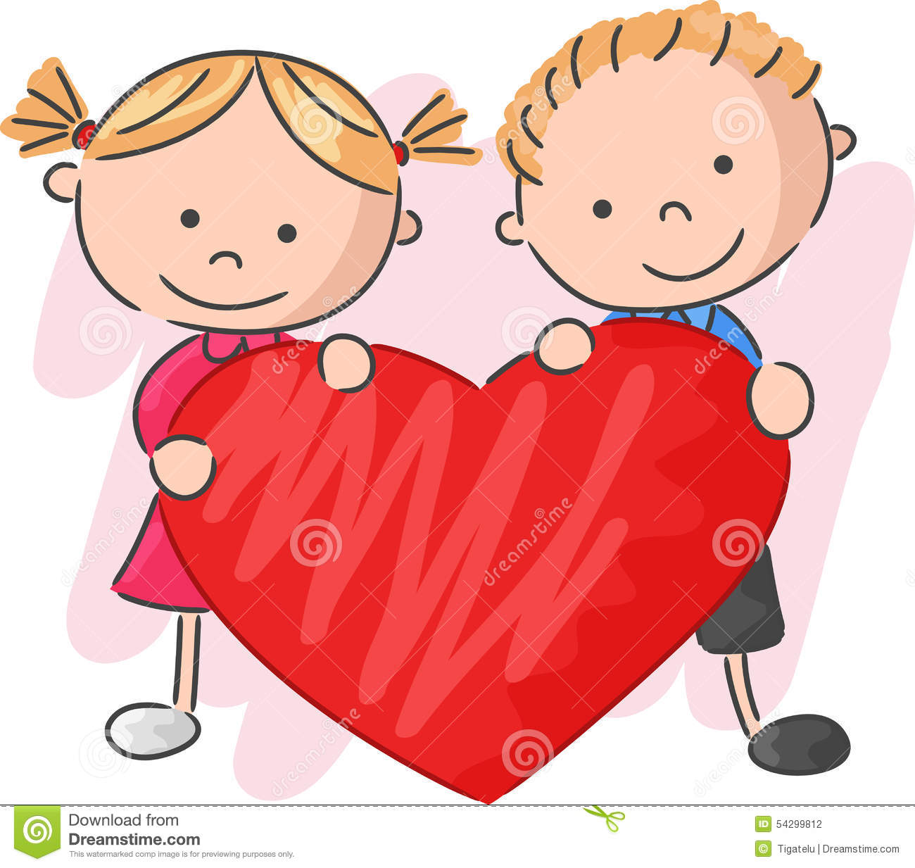 Cartoon Kids In Love Royalty Free Stock Images.