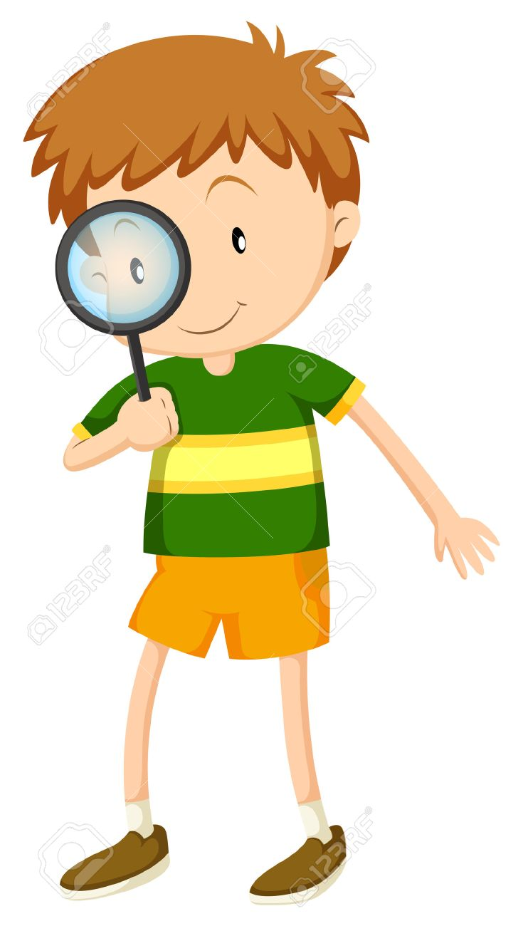 Boy Looking Through A Magnifying Glass Clipart.
