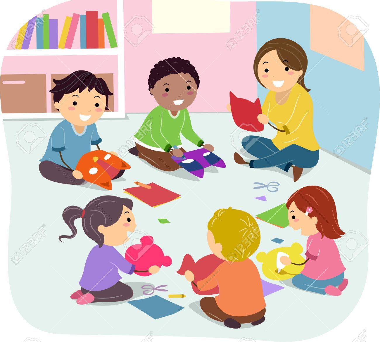 Stickman Illustration Of Kids Making Masks In Art Class Stock.