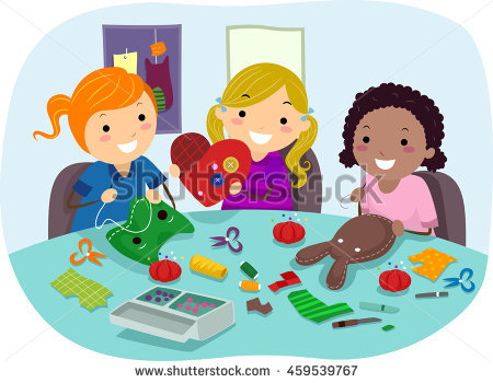 Small Group Kids Making Paper Cutouts Stock Vector 60159688.