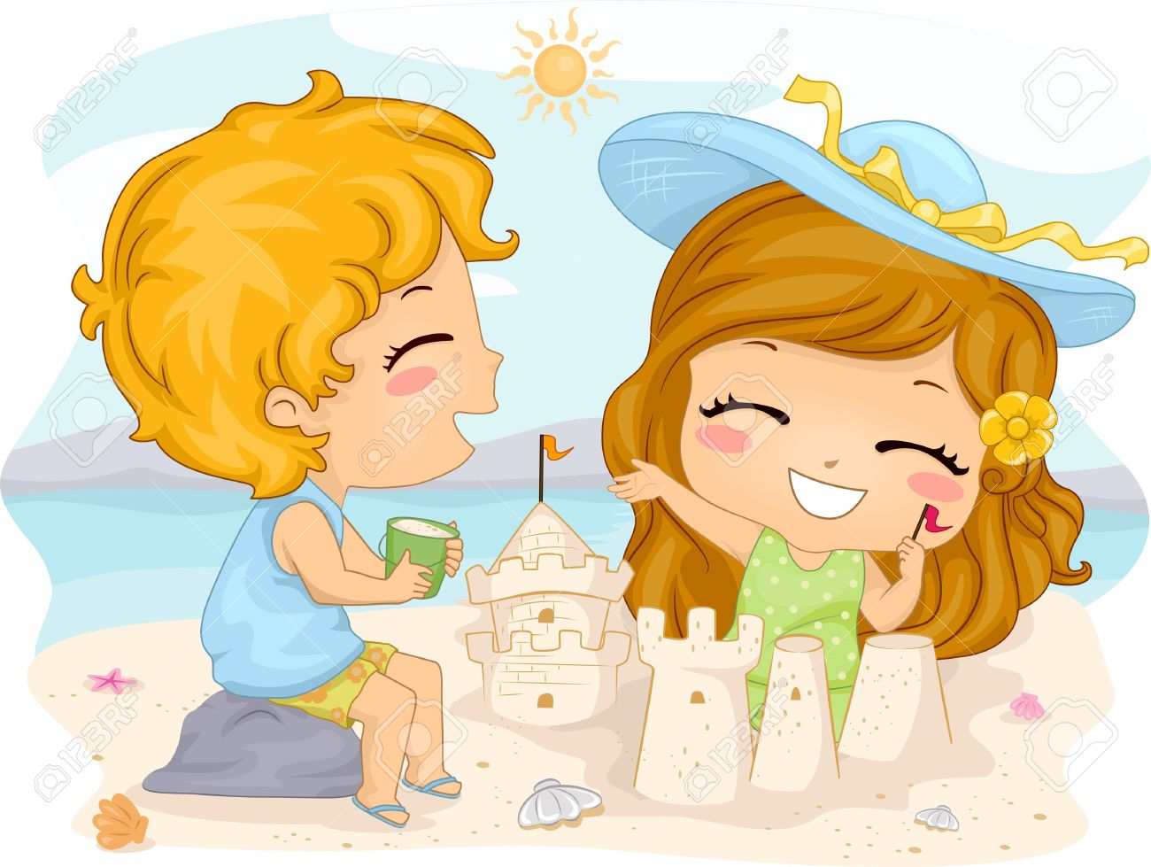 Illustration Of Kids Making Sand Castles Stock Photo, Picture And.