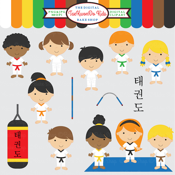 Tae Kwon Do Kids Clipart.