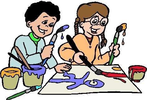 Kids Making Art Clipart.