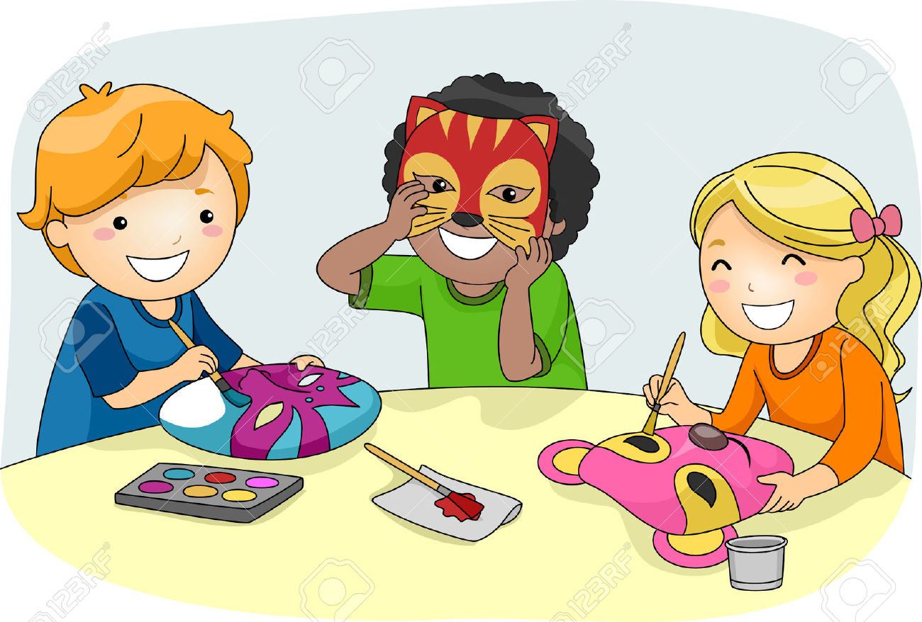 Illustration Of Kids Making Colorful Party Masks Stock Photo.