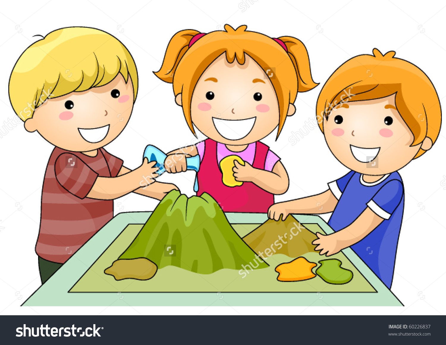 Small Group Kids Making Volcano Project Stock Vector 60226837.