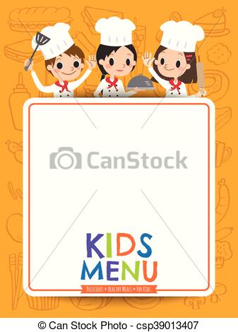 kids menu young chef children with blank menu board cartoon.
