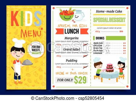Kids Restaurant Menu Design.