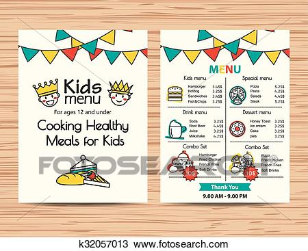 Kids meal menu vector template, Restaurant menu design Clipart.