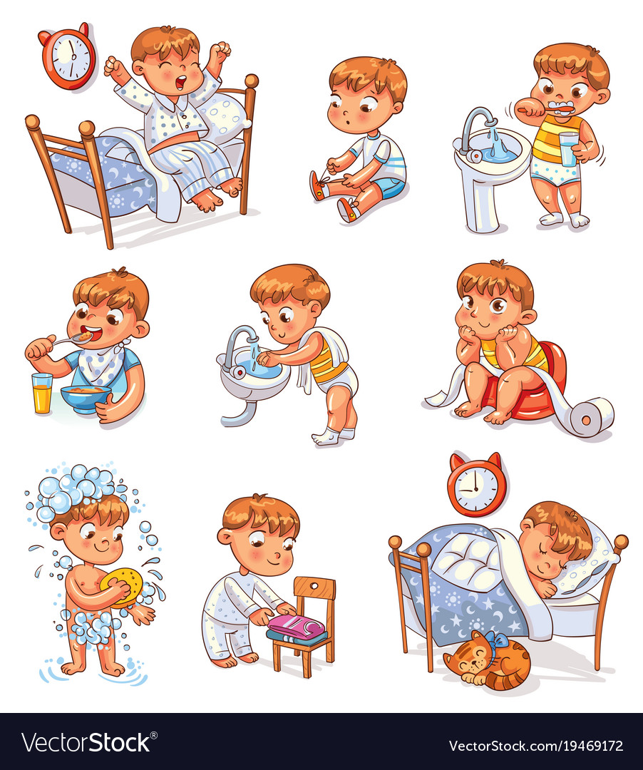 Cartoon kid daily routine activities set.