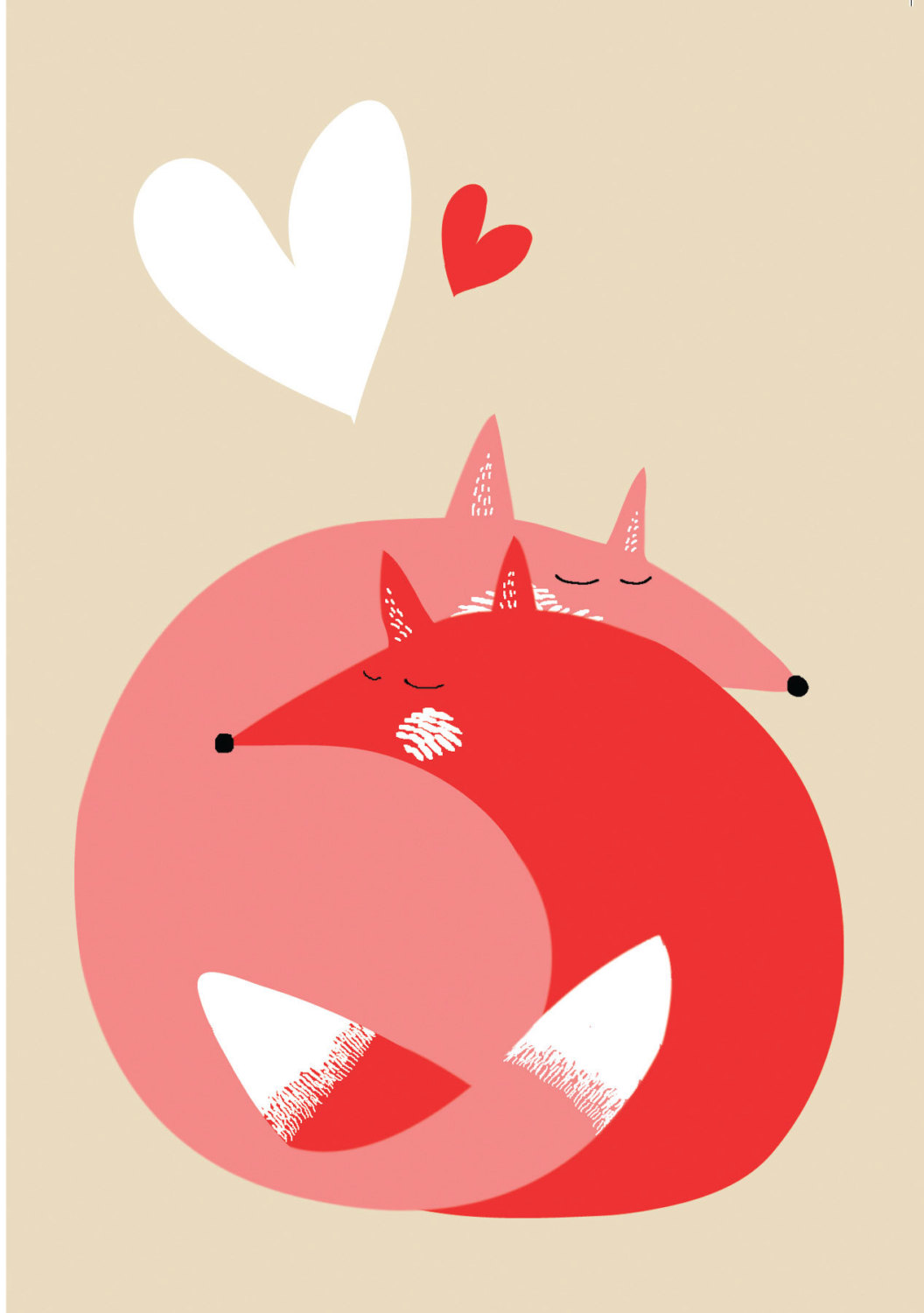 Love Foxes // A6 blank greeting card.