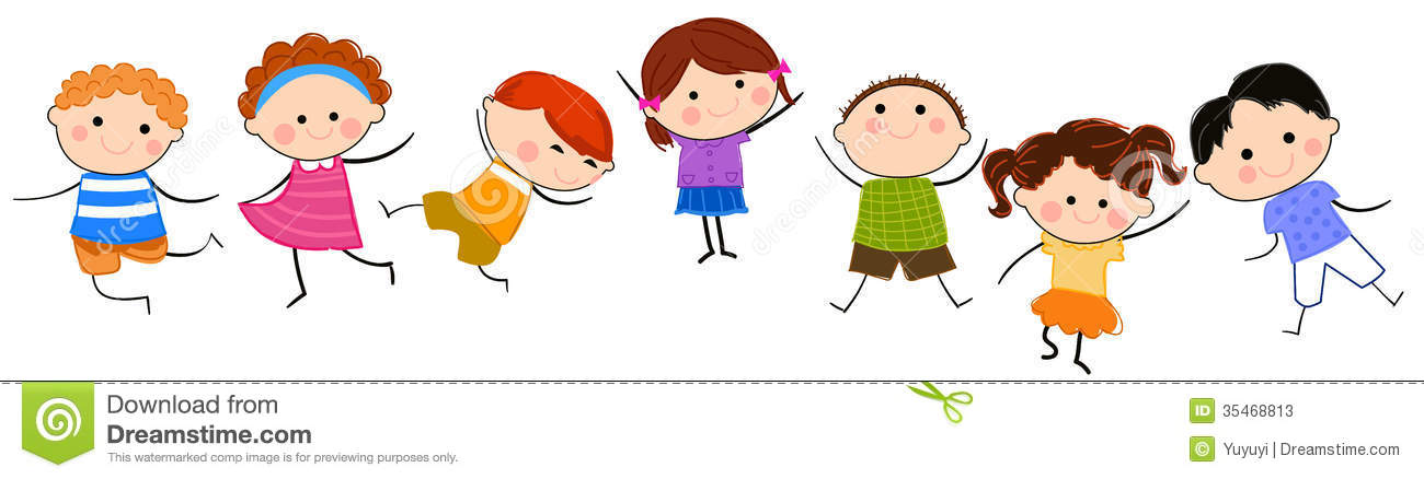 Group of kids having fun stock vector. Illustration of icon.