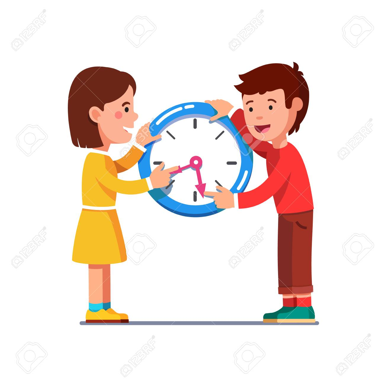 School kids moving clock hands reading time.