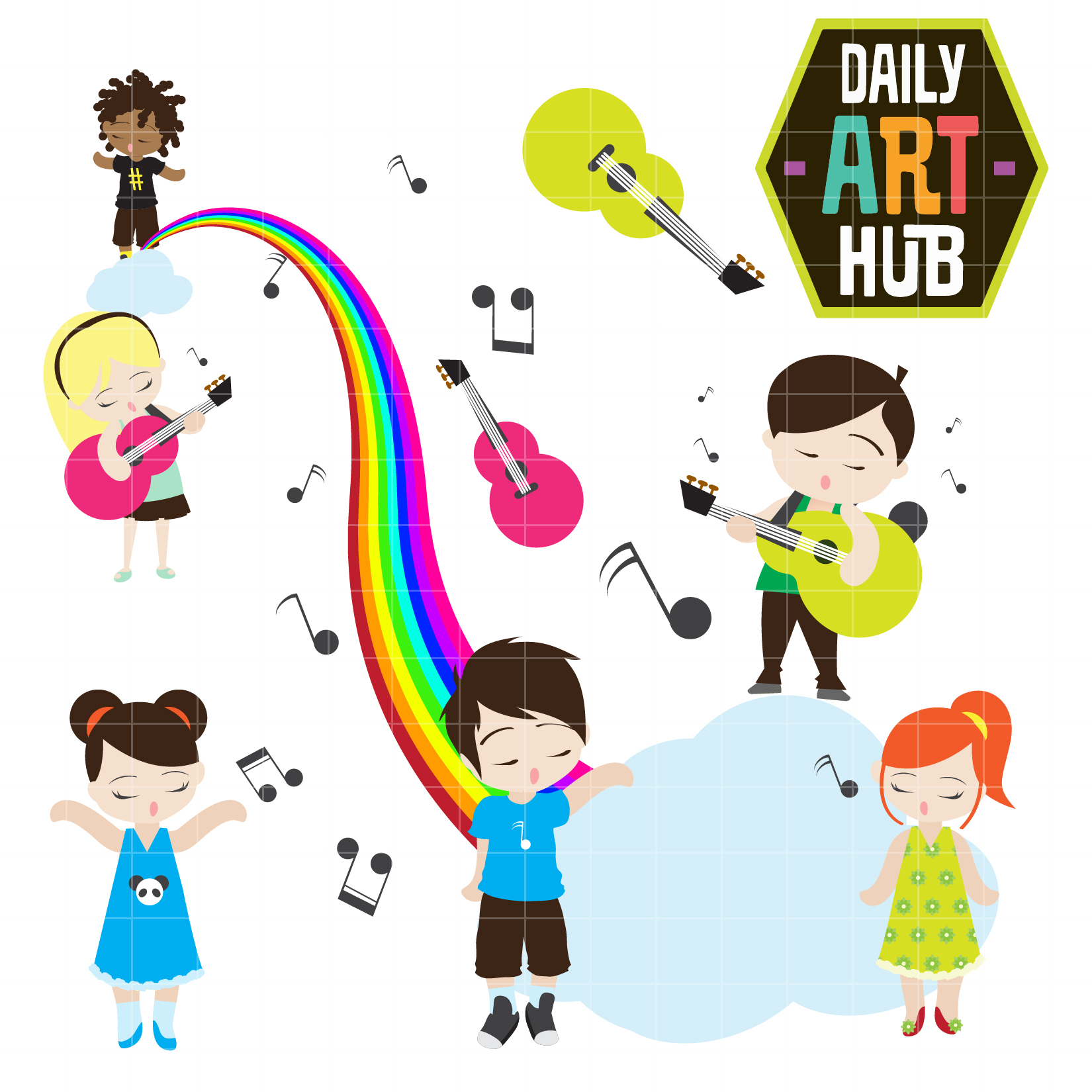 Music Kids Clip Art Set.