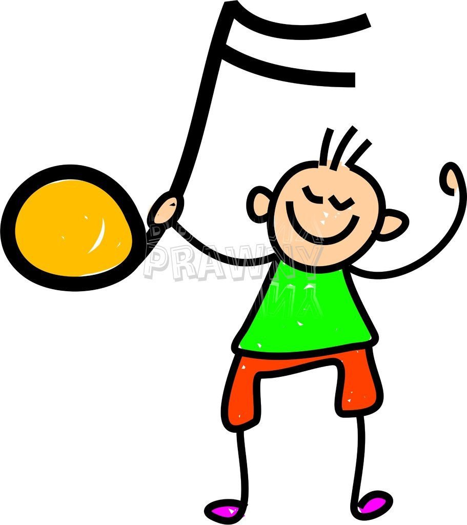 Happy Cartoon Boy Holding a Music Note Toddler Art Prawny Clip Art.