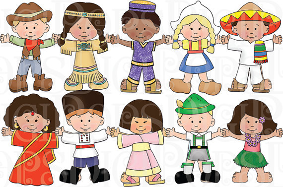 Children of the World Dress Up Digital Clip Art Set Personal.