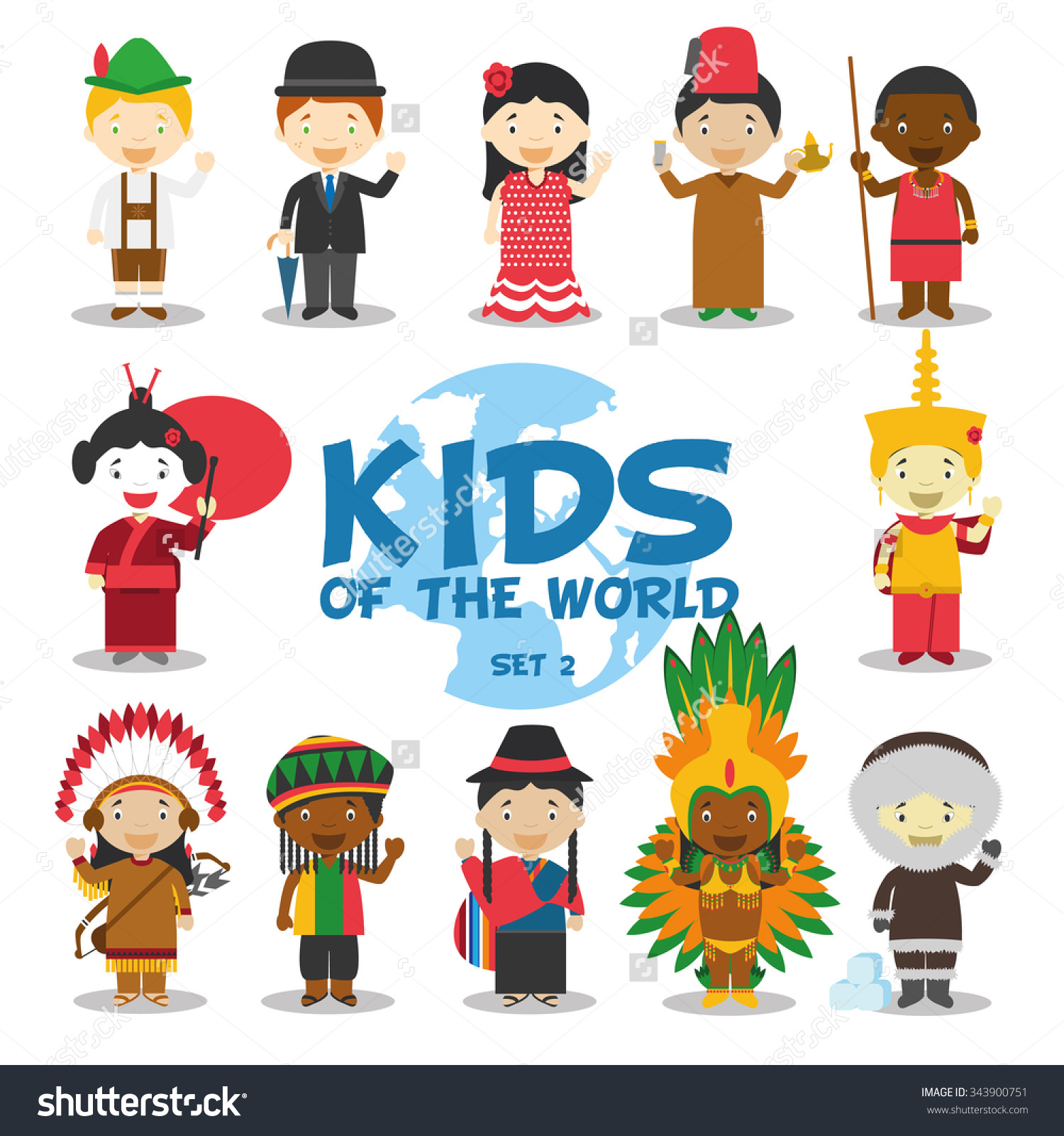 Kids of the world vector illustration: Nationalities Set 2. 12.