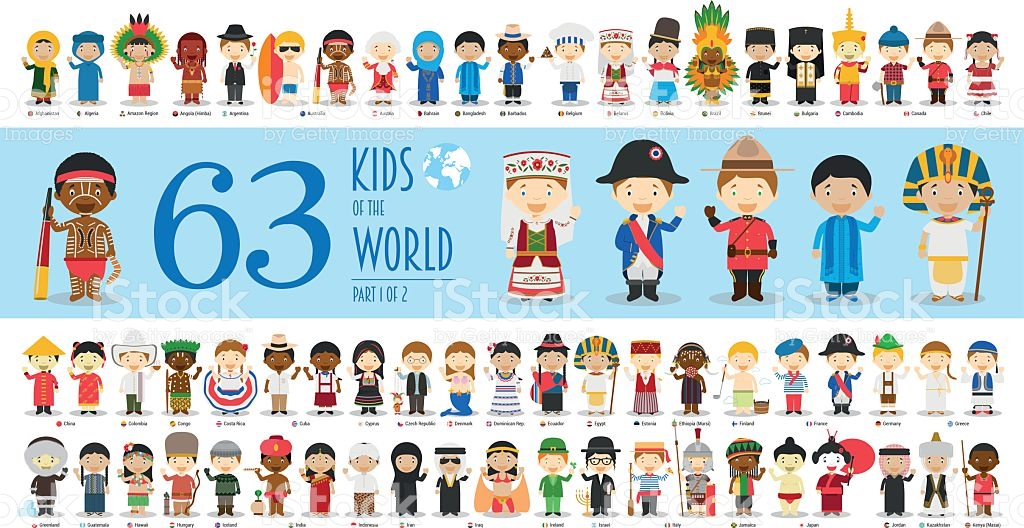 Kids Of The World Part 1 63 Children Characters stock vector art.