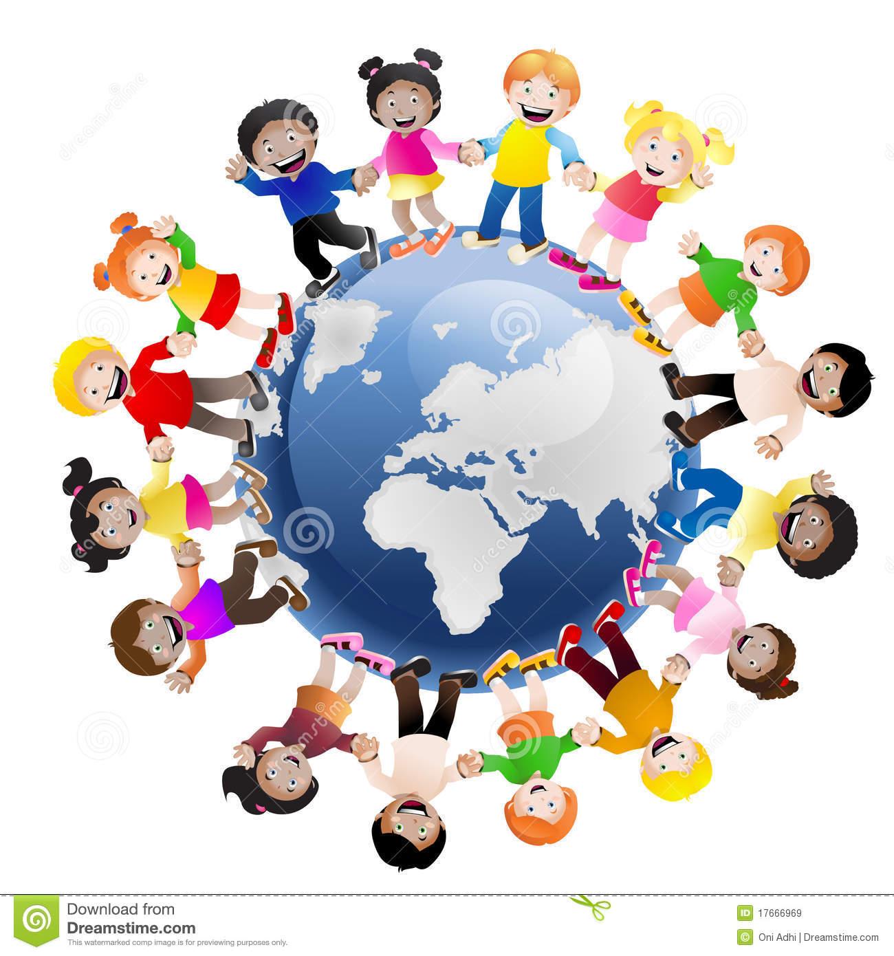 Kids Holding Hands Around The World Clipart.