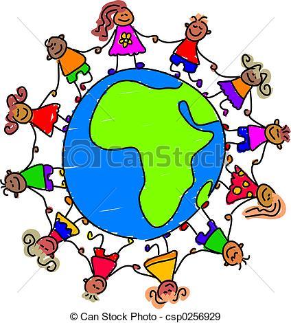 Stock Illustrations of world kids.