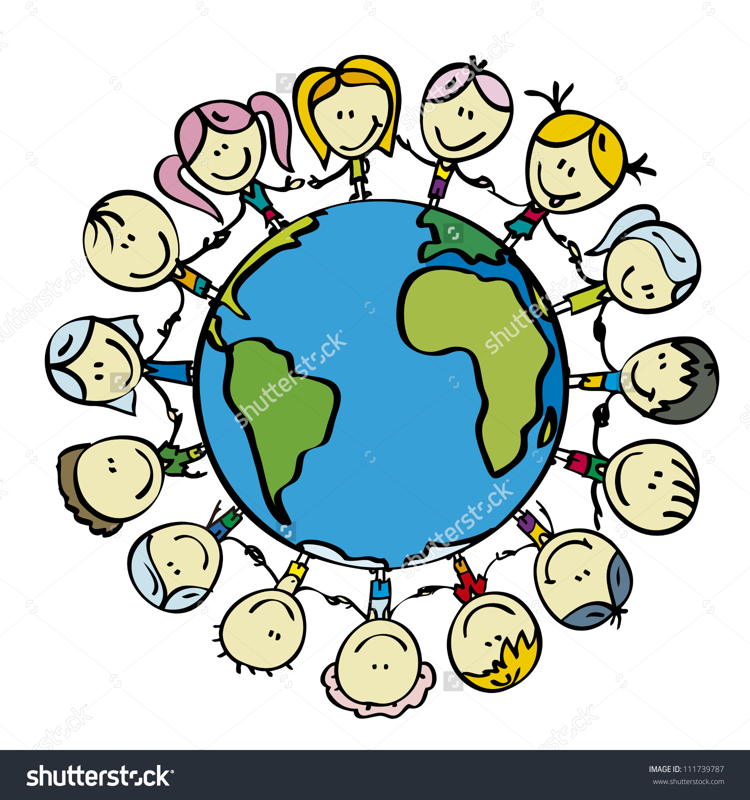 Children Around World Save Planet Earth Stock Vector 111739787.