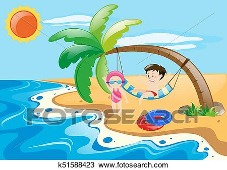 Summer theme with kids on beach Clipart.