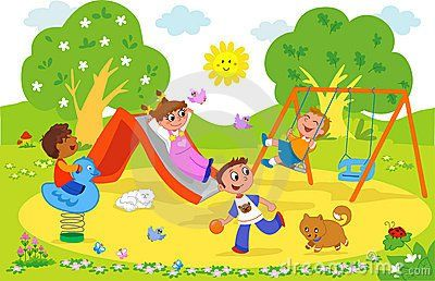 Image result for kids at a playground clipart.