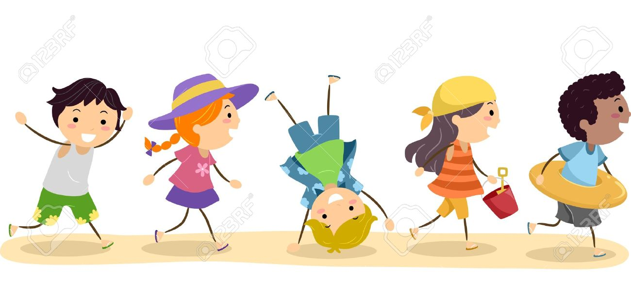 Kids on the beach clipart - Clipground