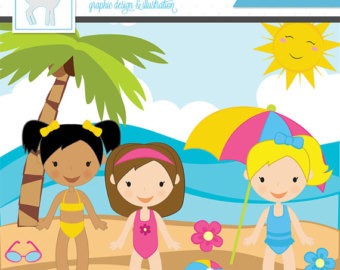 Kids At The Beach Clipart