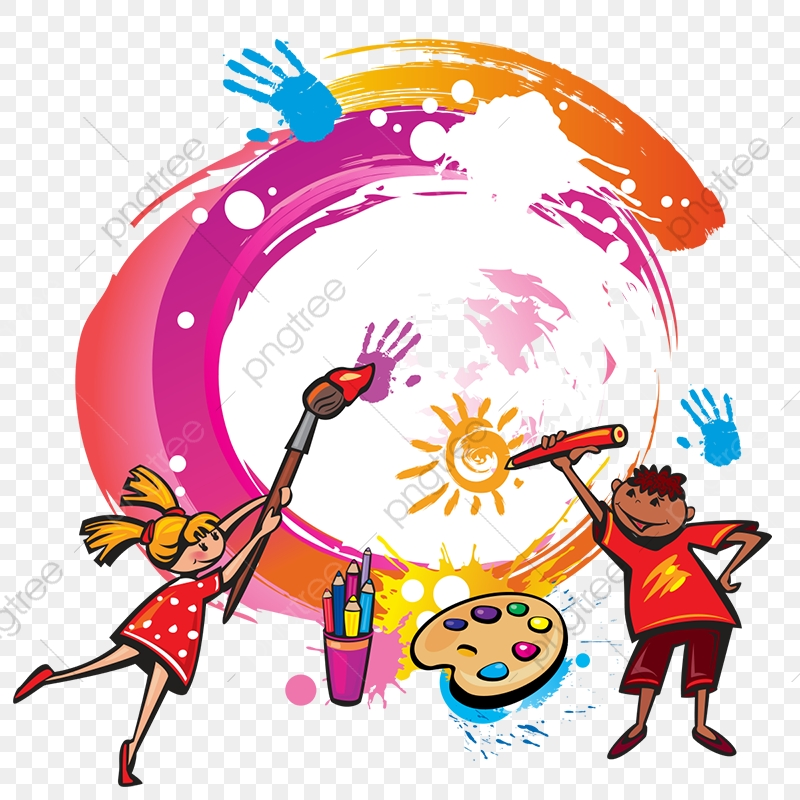 Paint Kids Painting Vector Png, Kids Painting, Painting Vector, Kids.