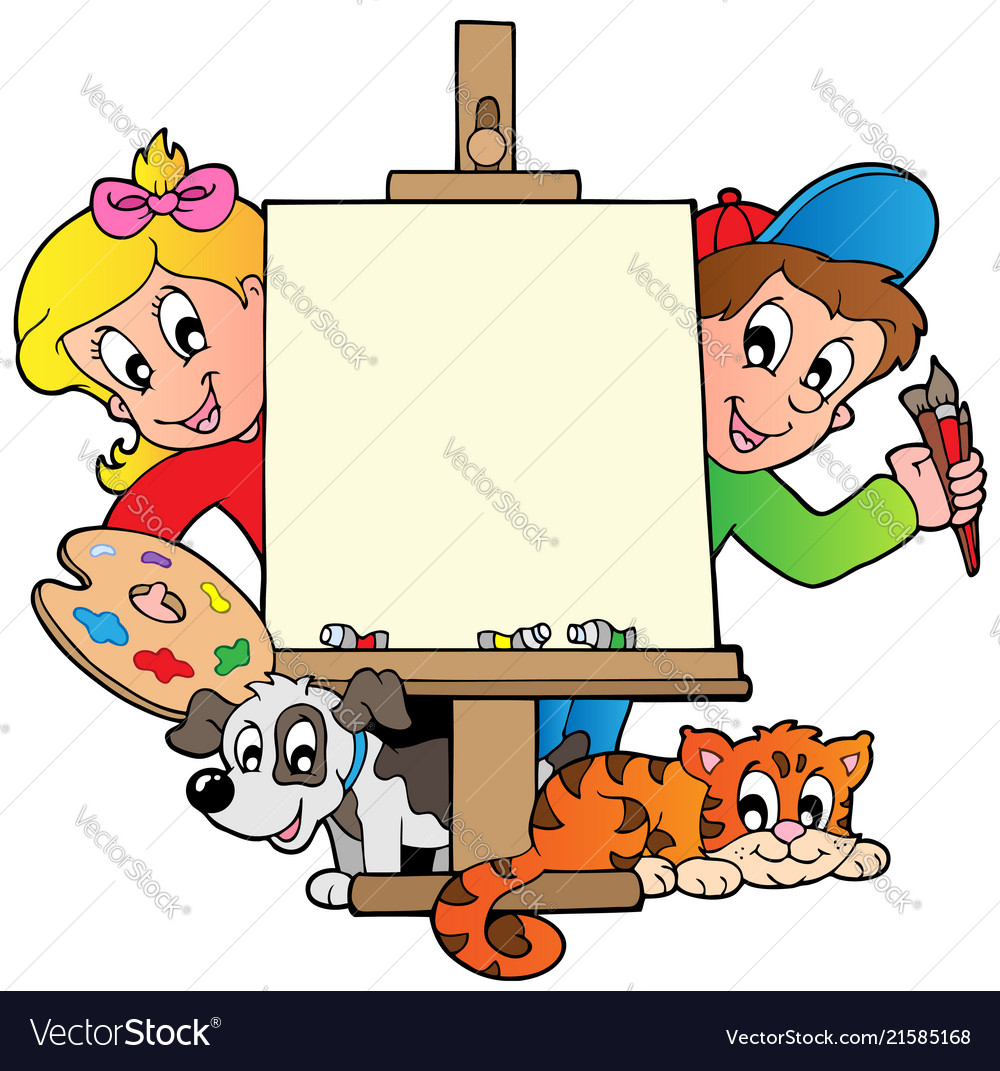 Cartoon kids with painting canvas vector image.