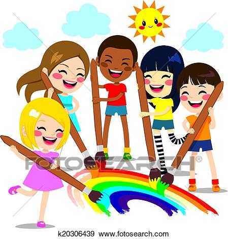Kids Painting Rainbow Clip Art.