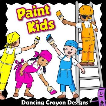 Kids Painting Clip Art.